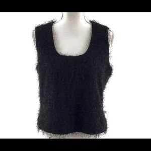 Anne Klein Sleeveless Black Blouse Lined Size  12
